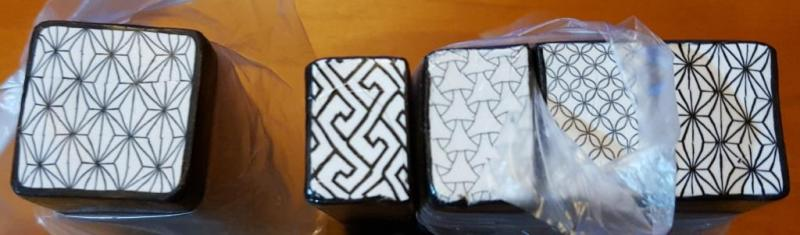 Black and White Japanese Patterned Canes