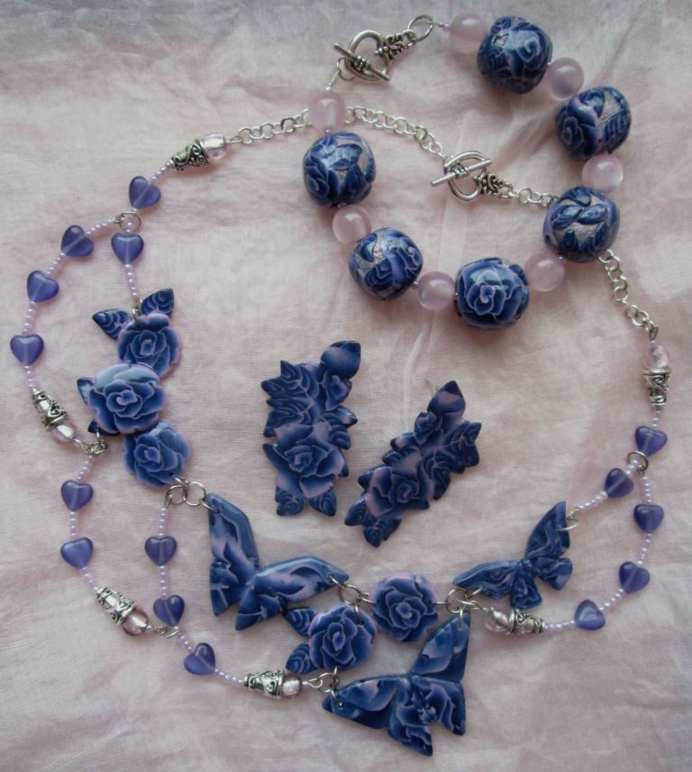 Blue Night Garden - Necklace, bracelet and earrings set