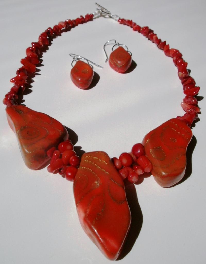 Coral and Randomly Shaped Beads - Necklace and Earrings