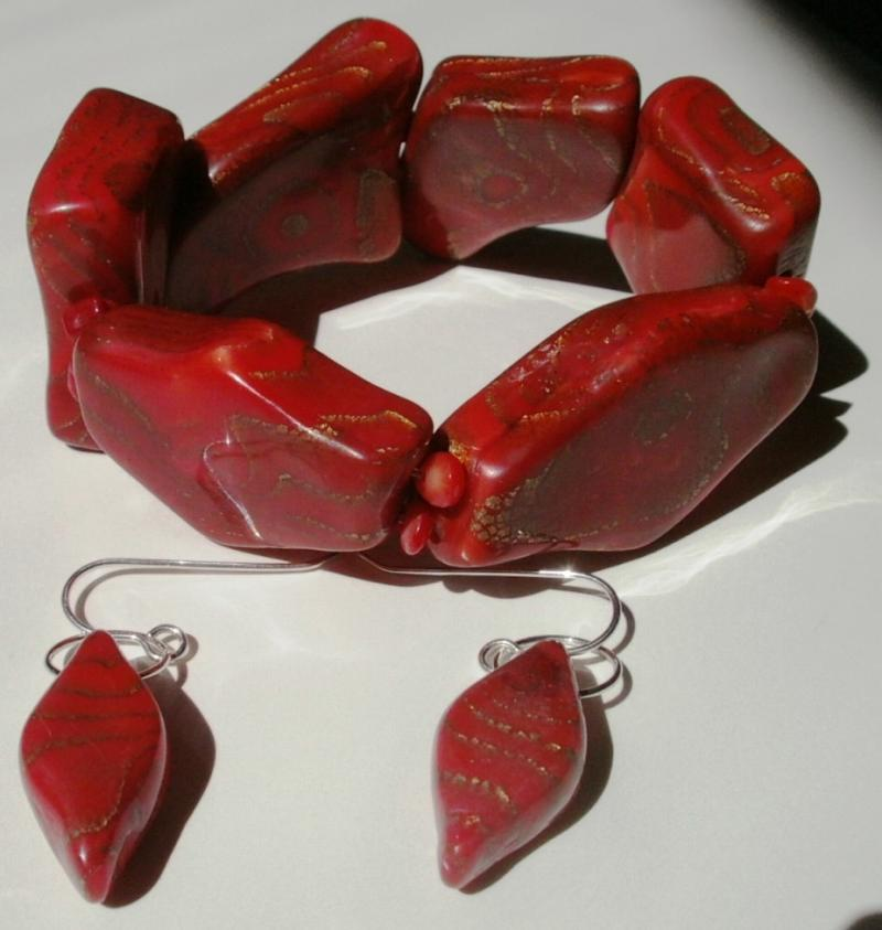 Deep Warm Red - Bracelet & earrings set