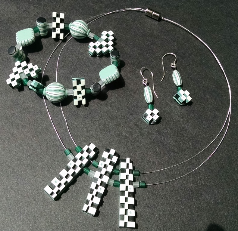 White & Green Checkers Set - using Judy Belcher's techniques